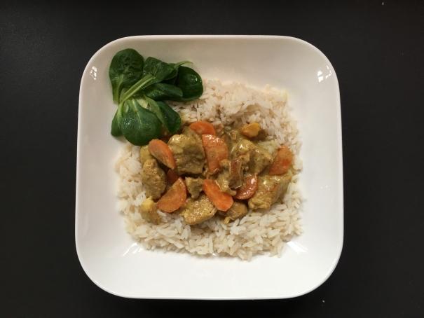 Le sauté de porc bio curry coco riz cocorimag
