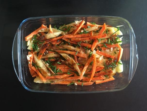 la cuisson des frites de carottes et pomme de terre au four cocorimag