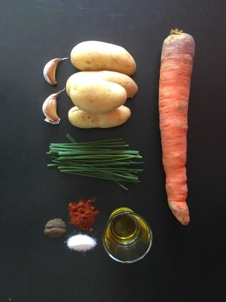 les ingrédients des frites de carottes et pomme de terre au four cocorimag
